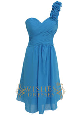 Ocean Blue One-shoulder with Flowers Short Chiffon Bridesmaid Dresses Am145