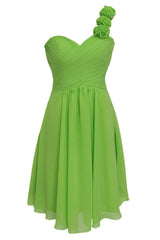 One-shoulder with Flowers Short Bridesmaid Dresses Am145