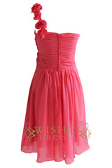 Coral One-shoulder with Flowers Short Chiffon Bridesmaid Dresses Am145