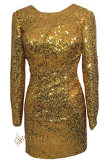 Deep V-neck Cut Long Sleeves Gold Sequins Mother of The Bride Dresses Am149