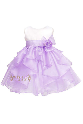 Lilac /White Bicolor Organza Little Flower Girl Dress For Cute Baby Style Am14