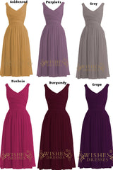 V Neckline Ruched Bodice Knee Length Bridesmaid Dresses/ Mismatch Bridesmaid Dresses Am15
