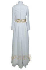 Deep V-neck Long Sleeves White Mother of the Bride Dress/Formal Dress Am153
