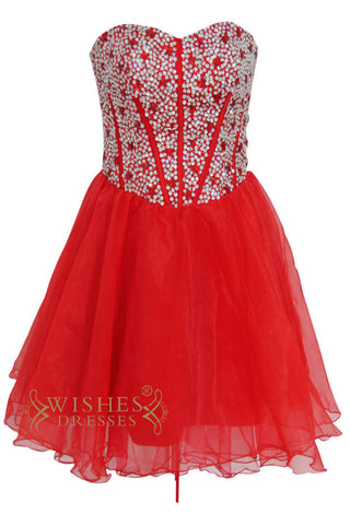 Beaded Bodice Red Short Prom Dresses Am159