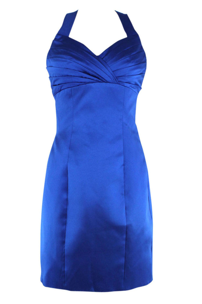 Sheath Halter Royal Blue Satin Cocktail Dress Am166