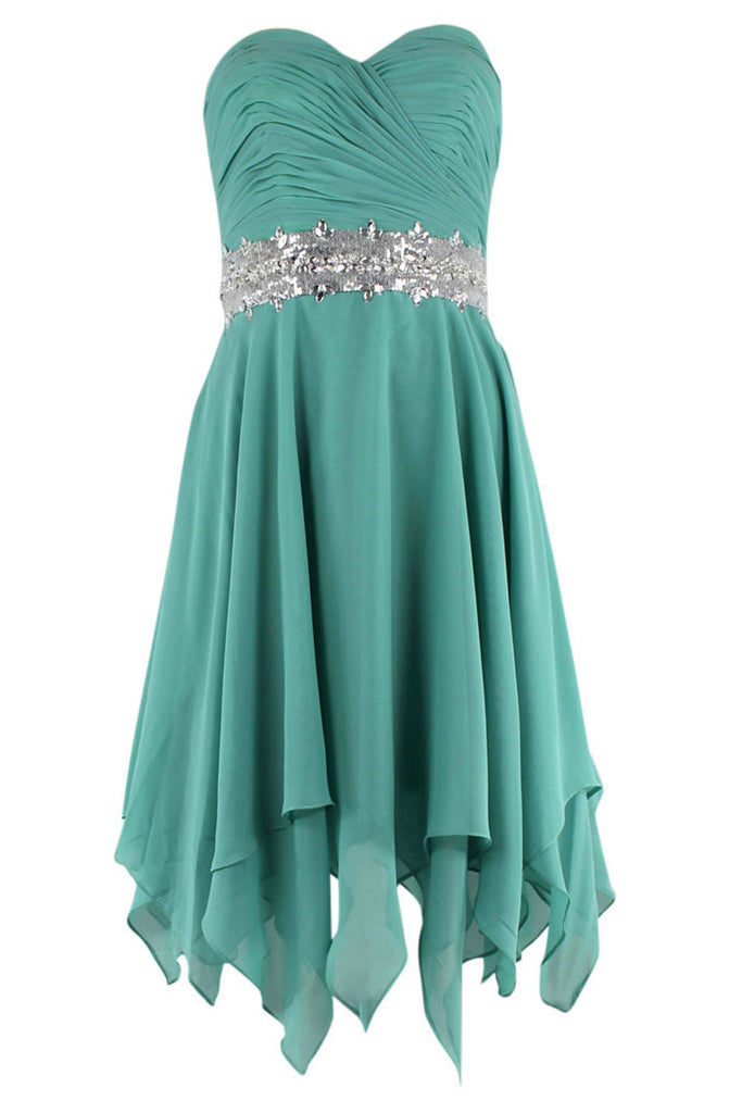 A-line Sweetheart With Silver Waistband Teel High Low Prom Dresses Am167