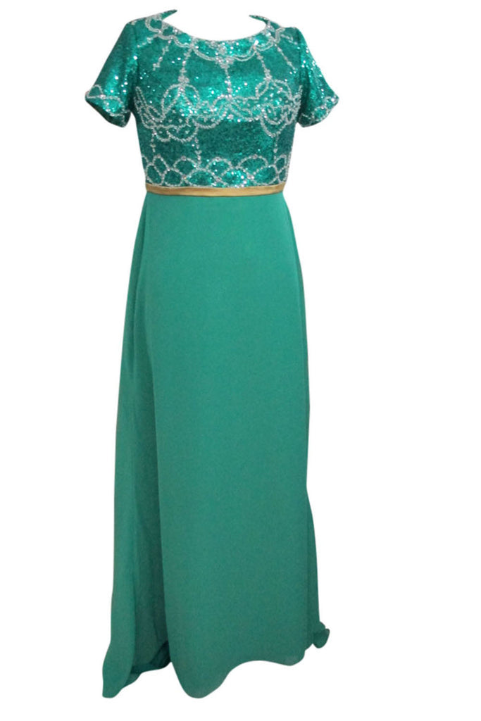 Elegant Green Chiffon Modest Mother of The Bride Dress With Short Sleeves Am168