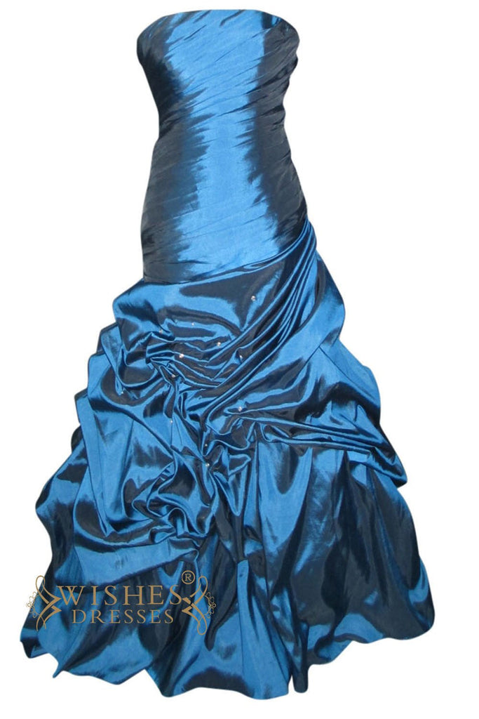 Mermaid Teel Blue Taffeta Long Prom Dress Am169