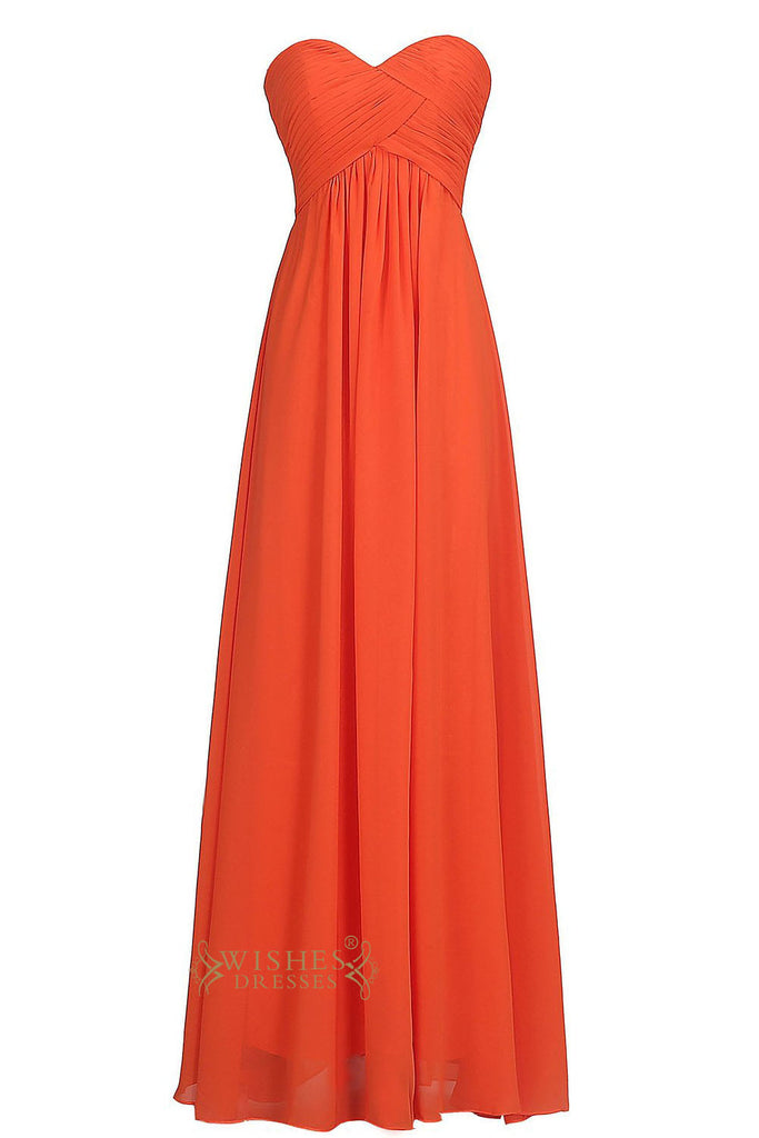 Sweetheart Orange Red Chiffon Empire Floor Length Bridesmaid Dresses Mismatch Gown Am16