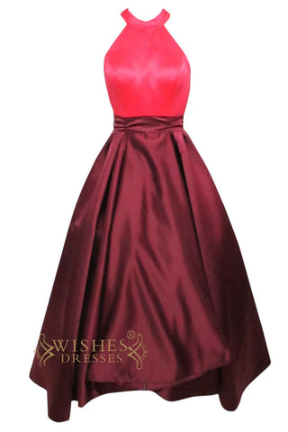 Bicolor Halter Satin Long Formal Dress Am174