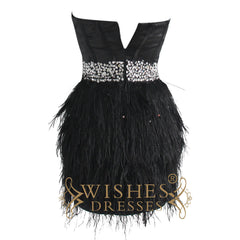 A-line Satin Black Ostrich Feather Cocktail Dress/ Short Prom Dress Am179