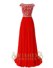 O Neckline Gorgeous Beaded Bodice Red Chiffon Long Prom Dresses Am18
