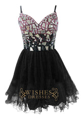 A-line Spaghetti Straps Black Homecoming Dresses Am181
