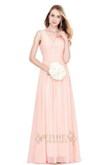 A-line V-neck Grey Chiffon Long Bridesmaid Dresses Am185