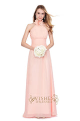 A-line Sexy Grey Chiffon Halter Bridesmaid Dress for Wedding Am186