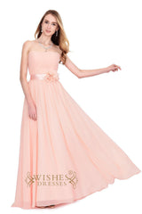 Elegant Strapless Grey Strapless Chiffon Bridesmaid Dresses Am187