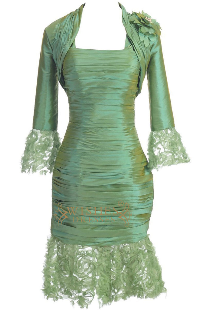 A-line Green Taffeta Mother of The Bride Dresses With Jacket Am189