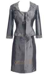 Beaded Straps Grey Taffeta Knee Length Mother of The Bride Dresses With Jacket Am191