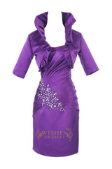 Purple Column Satin Short Mother of the Bride /Groom Dresses Am192