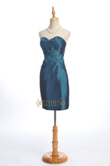 Pleated Bodice with Applique Details Knee Length Bridesmaid Dress Am196