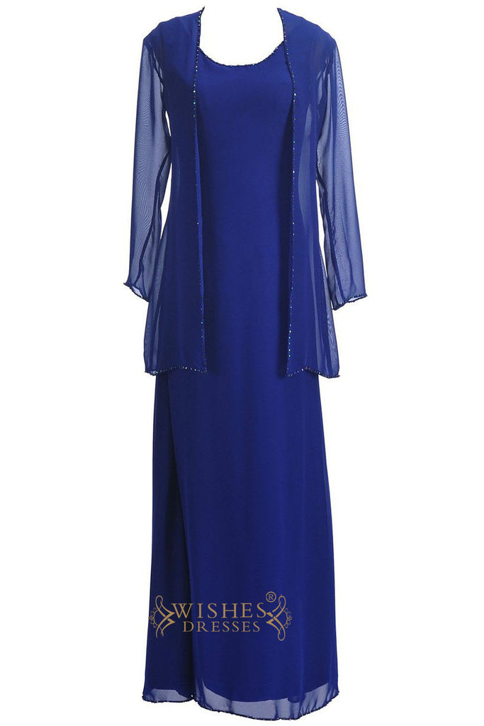 A-line Royal Blue Chiffon Mother of the Bride Dress With Jacket Am197