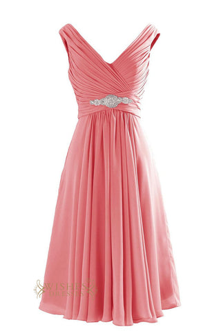 A-line Coral Chiffon Knee length Bridesmaid Dresses Am199