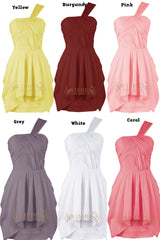 One-shoulder Pleated Bodice Knee Length Bridesmaid Dress /Cocktail Dress Am205