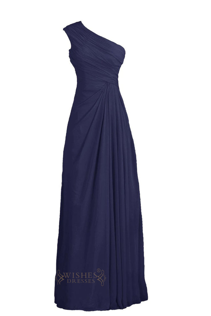 One-shoulder Ruched Detail Navy Bridesmaid Dress Am207