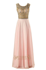 A-line Gold Prom Dresses With Delicated Beaded Bodice Evening Dress Am209