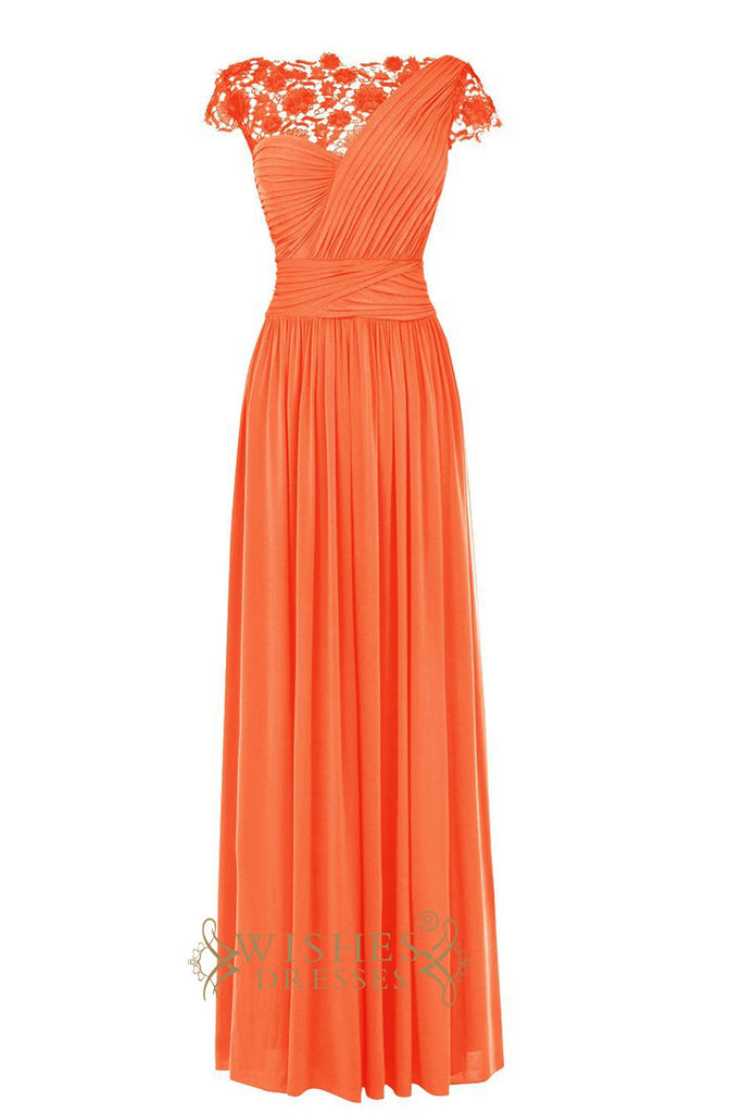 Lace Top Orange Chiffon Long Prom Dresses/ Formal Evening Dresses Am210