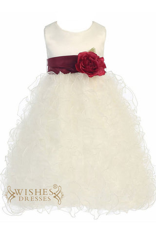 A-line Bicolor Organza Flower Girl Dress Am216