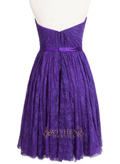 A-line Slight Sweetheart Purple Lace Bridesmaid Dress Am218