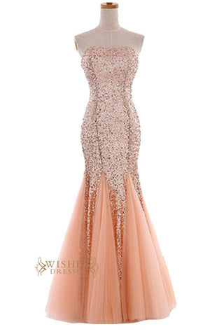 Sexy Mermaid Orange Sparkle Sequins Gown /Formal Dress /Prom Dress