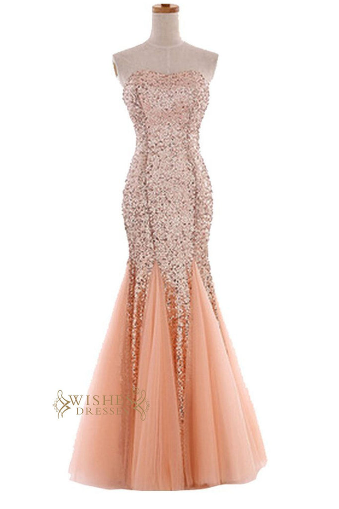 Fashion Mermaid Orange Sparkle Sequins Gown /Formal Dress /Prom Dress