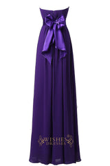 Purple Strapless Sweetheart  Floor Length Bridesmaid Dress With Bowknot Gown For Wedding  Am22