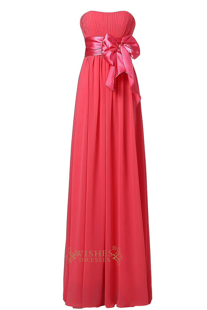 Coral Chiffon Floor Length Bridesmaid Dress With Removable Bowknot Gown For Wedding  Am22