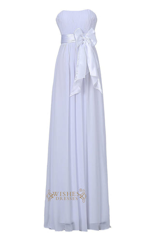 White Strapless Sweetheart  Floor Length Bridesmaid Dress With Bowknot Gown For Wedding  Am22