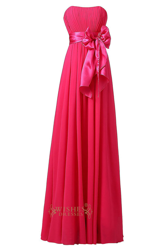 Cheap Hotpink Chiffon Floor Length Bridesmaid Dress With Removable Bowknot Gown For Wedding  Am22