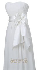 Cheap Ivory Chiffon Floor Length Bridesmaid Dress  For Wedding  Am22