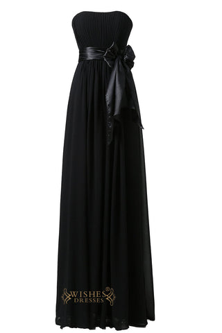 Discount Black Chiffon Floor Length Bridesmaid Dress  For Wedding  Am22