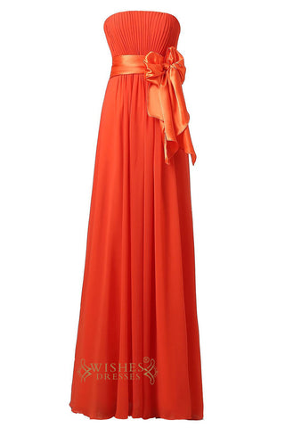 Cheap Orange Chiffon Strapless Sweetheart  Floor Length Bridesmaid Dress For Wedding  Am22