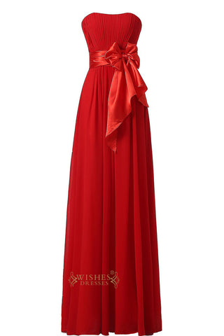 Red Slight Sweetheart  Floor Length Bridesmaid Dress With Removable Bowknot Gown For Wedding  Am22