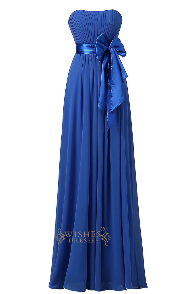 Royal Blue Slight Sweetheart  Floor Length Bridesmaid Dress With Bowknot Gown For Wedding  Am22