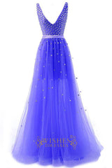 A-line Deep V-neck Long Prom Dresses /Formal Dresses Am220