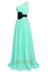 One-shoulder Long Prom Dress with Flower Detail Am221
