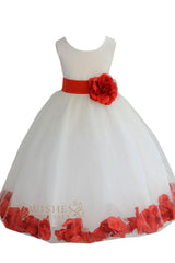 Cute Coral Detail Flower Girl Dresses Am224