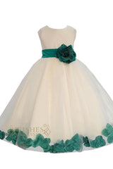 Cute Green Detail Flower Girl Dresses Am224