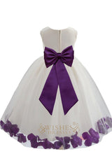 Cute Purple Detail Flower Girl Dresses Am224