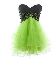A-line Black Lace & emerald Tulle Cocktail Dress/ Prom Dress/ Homecoming Dress Am227