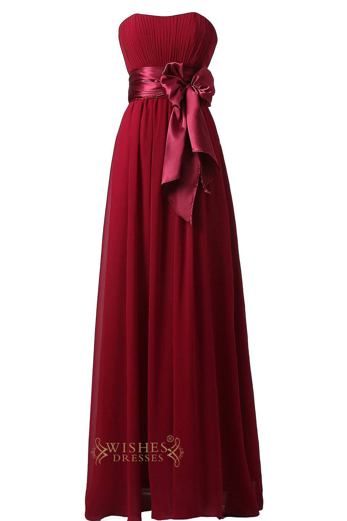 Slight Burgundy Floor Length Bridesmaid Dress For Wedding  Am22